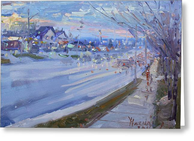 Sunset In Guelph St Georgetown On Greeting Card by Ylli Haruni