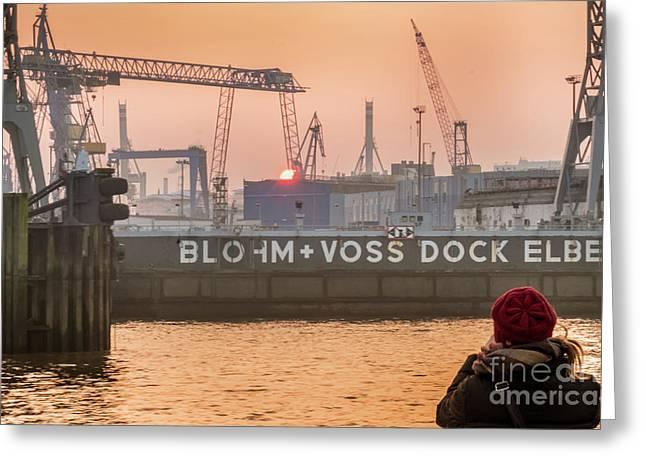 Sunset In Hamburg Port Germany Greeting Card