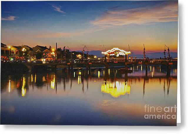 Sunset In Hoi An Vietnam Southeast Asia Greeting Card