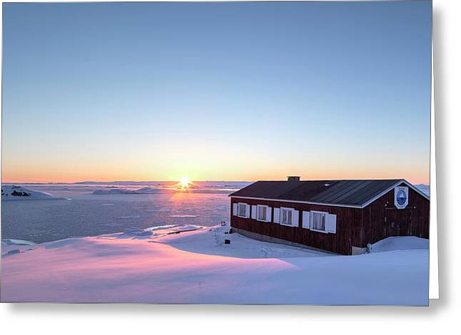 sunset in Ilulissat, Greenland Greeting Card