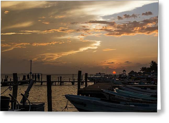 Sunset In Isla Mujeres II Greeting Card by John Hesley