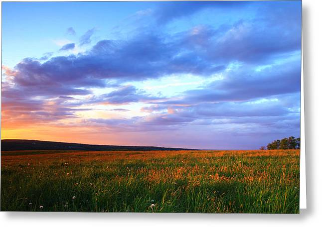 Sunset In Ithaca South Hill Greeting Card