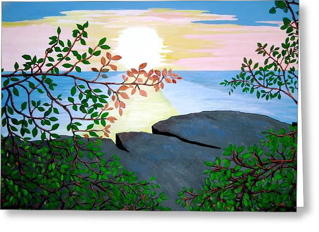 Greeting Card featuring the painting Sunset In Jamaica by Stephanie Moore