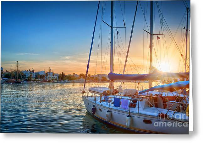 Sunset In Kos Greeting Card by Delphimages Photo Creations