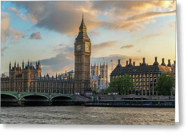 Sunset In London Westminster Greeting Card