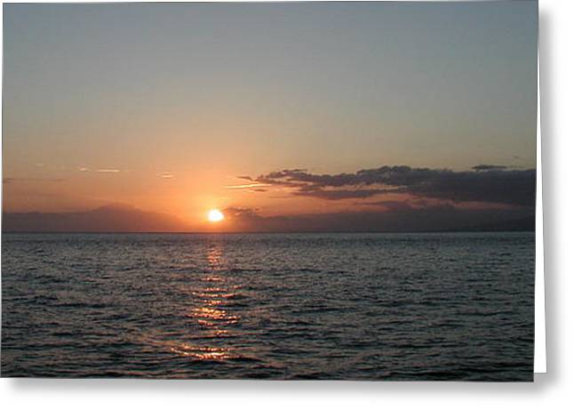 Sunset In Maui Greeting Card by Bj Hodges
