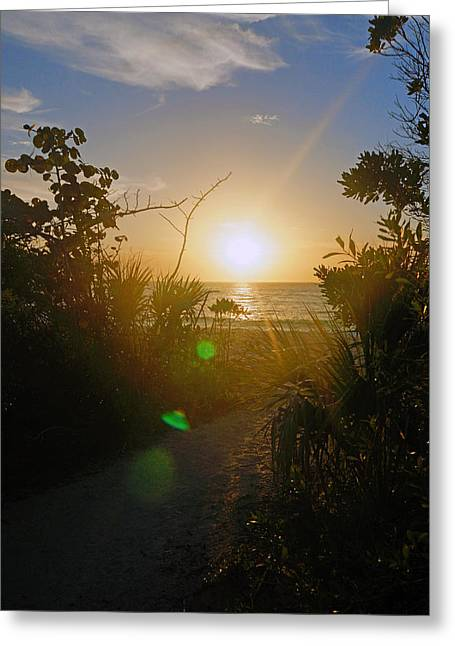 Sunset In Naples At Barefoot Beach Greeting Card
