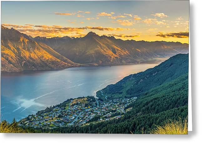 Sunset In New Zealand Greeting Card