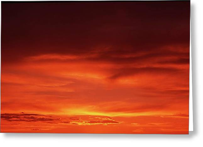 Greeting Card featuring the photograph Sunset In Orange by Edward R Wisell