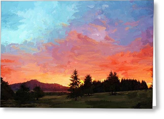 Sunset In Oregon Greeting Card