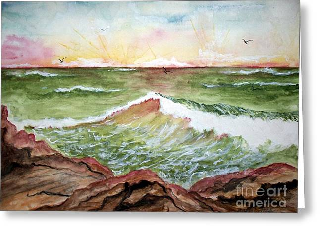 Greeting Card featuring the painting Sunset In Pink by Carol Grimes