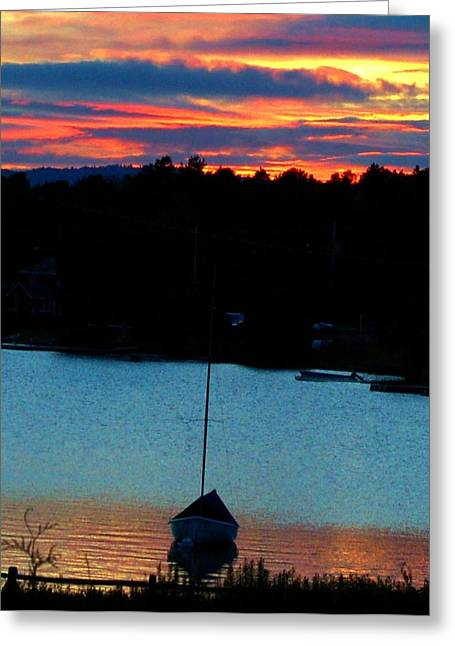 Sunset In Rangeley Maine Greeting Card by DeLa Hayes Coward