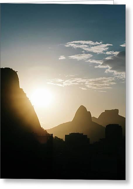 Sunset In Rio De Janeiro, Brazil Greeting Card