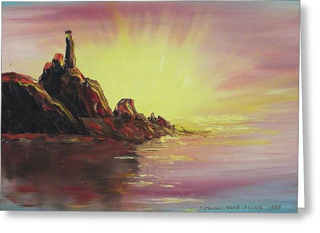 Sunset In Rocks Greeting Card