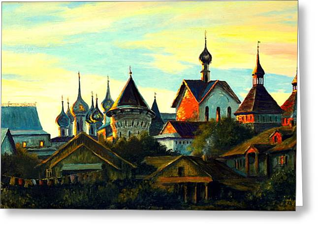 Sunset In Rostov Greeting Card by Henryk Gorecki