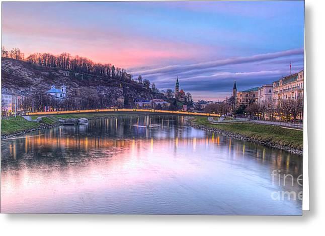 Sunset In Saltzburg Greeting Card