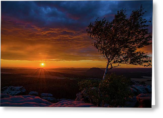 Sunset In Saxonian Switzerland Greeting Card