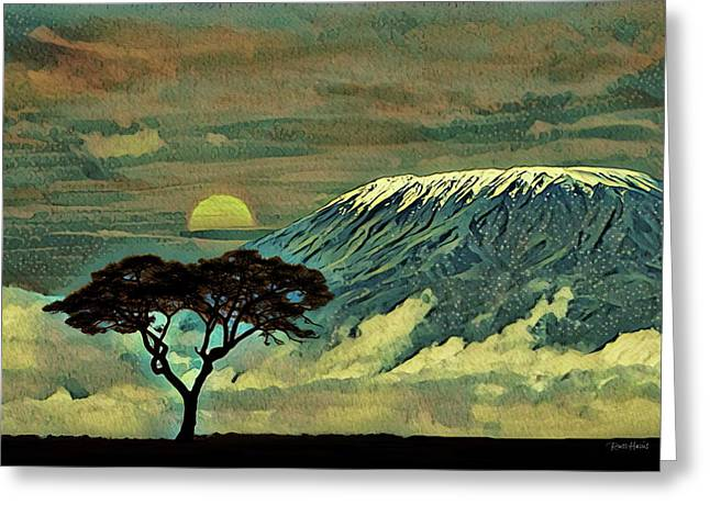 Sunset In Serengeti Greeting Card by Russ Harris