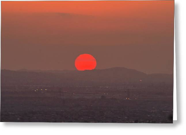 Sunset In Smog Greeting Card