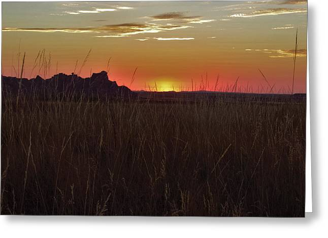 Sunset In The Badlands Greeting Card
