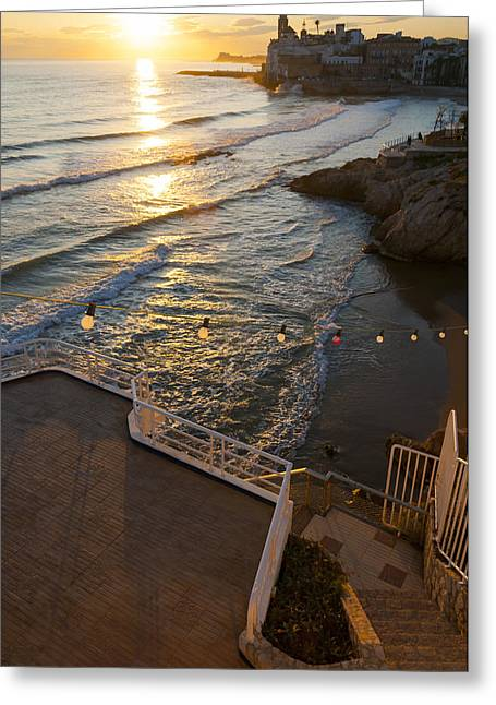 Sunset In The Beautiful Sitges Greeting Card