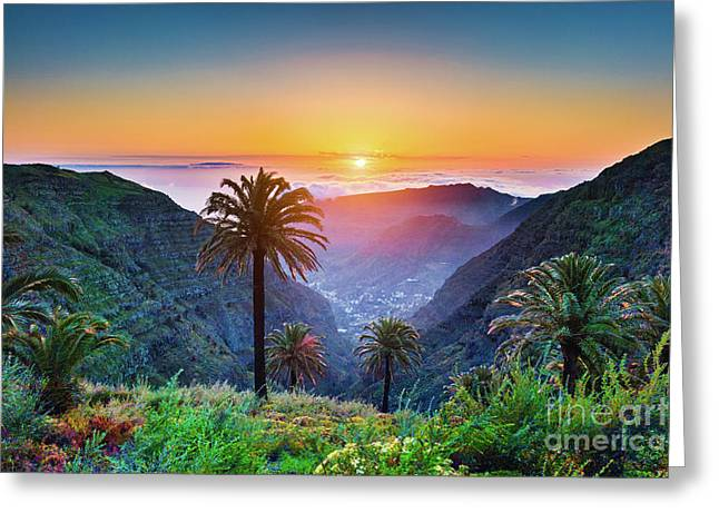 Sunset In The Canary Islands Greeting Card by JR Photography
