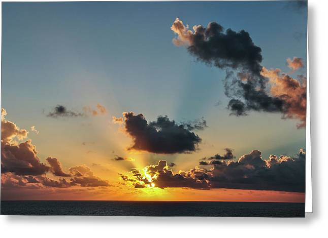Sunset In The Caribbean Sea Greeting Card