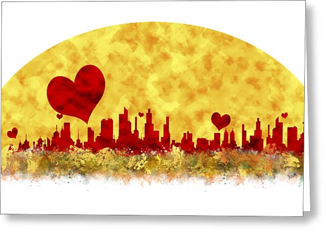 Sunset In The City Of Love Greeting Card