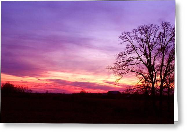 Sunset In The Country Greeting Card by Amanda Kiplinger