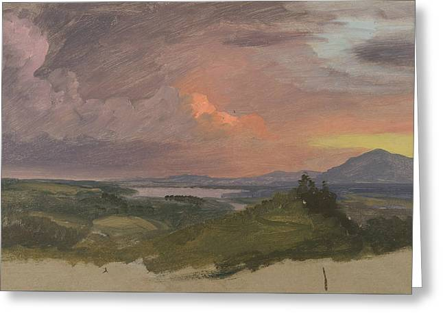 Sunset In The Hudson Valley Greeting Card by Frederic Edwin Church