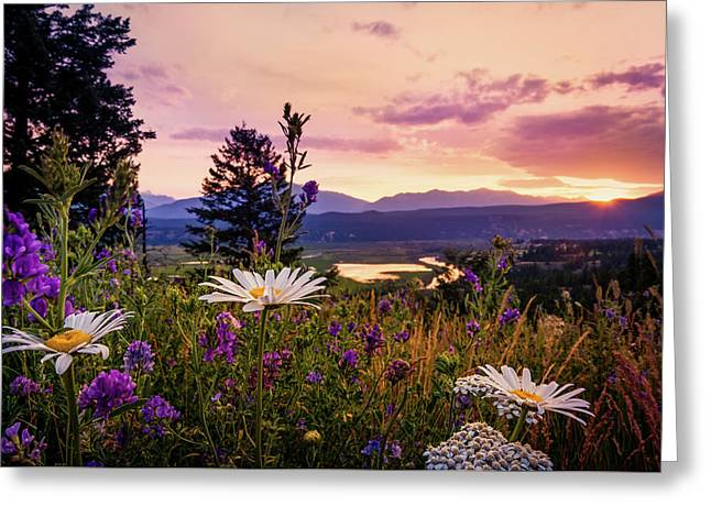 Sunset In The Kootenays Greeting Card