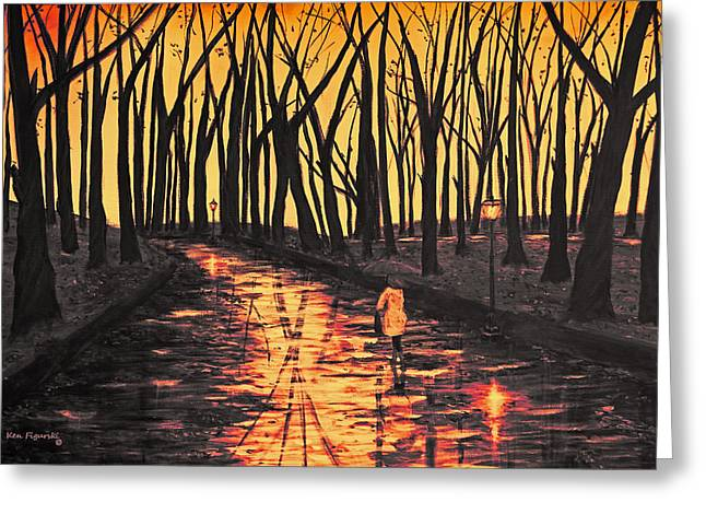 Sunset In The Park  Greeting Card by Ken Figurski