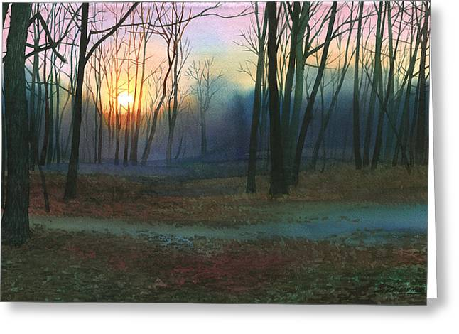 Sunset In The Park Greeting Card by Sergey Zhiboedov
