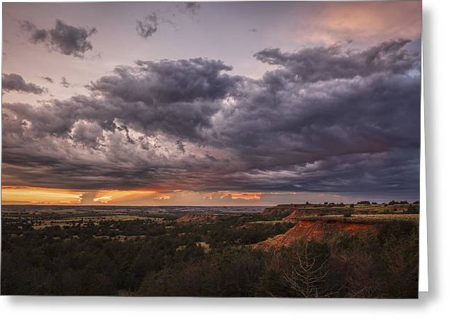 Sunset In The Red Hills Greeting Card