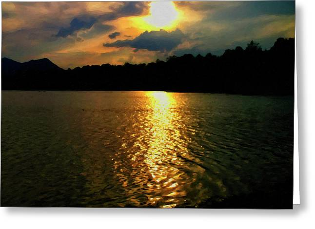 Greeting Card featuring the digital art Sunset In The Smoky Mountains 1 by Chris Flees