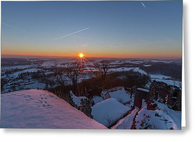 sunset in the Southern Harz Greeting Card