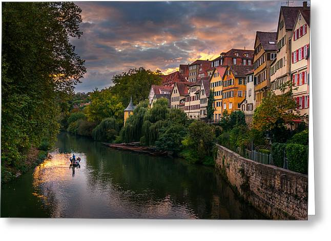 Sunset In Tubingen Greeting Card