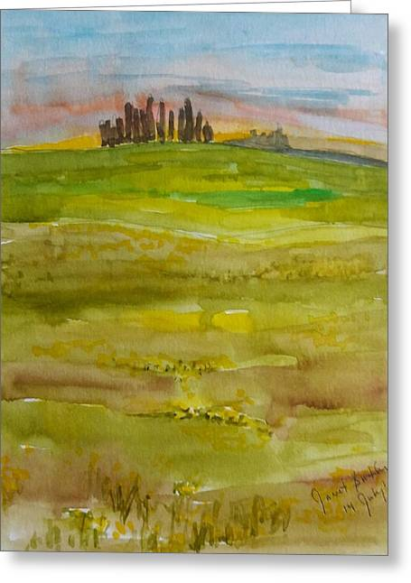Sunset In Tuscany Greeting Card by Janet Butler