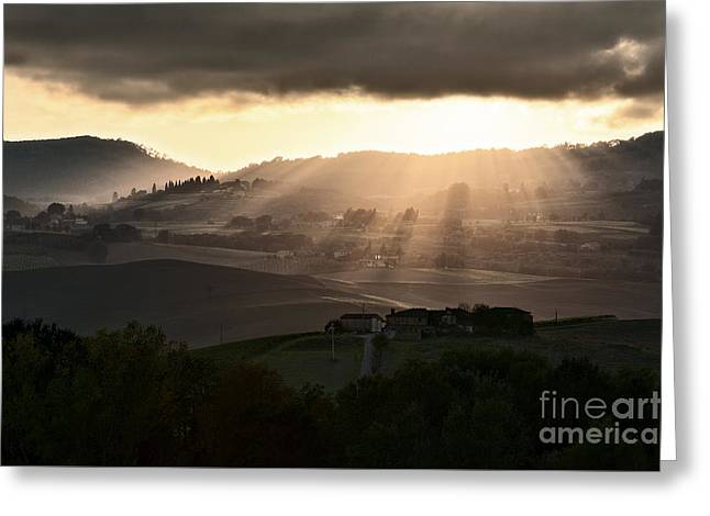 Sunset In Val D'orcia Greeting Card