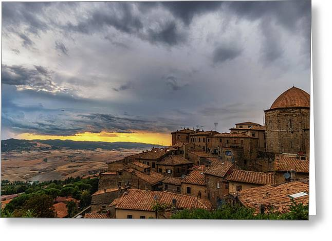 Sunset In Volterra Greeting Card