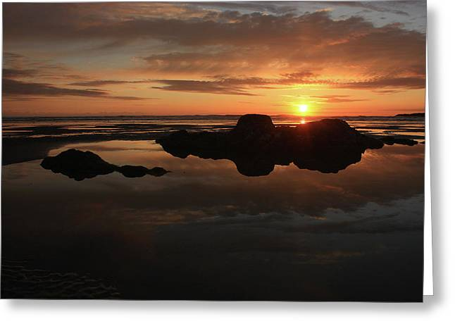 Water Greeting Cards - Sunset In Yachats Oregon Greeting Card by Kami McKeon
