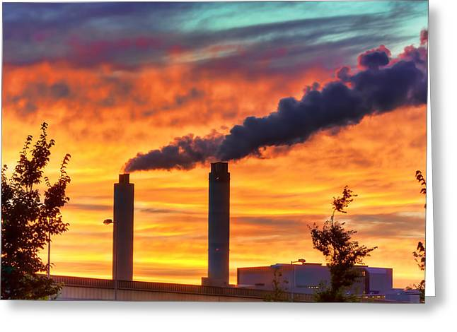 Sunset Industry Greeting Card