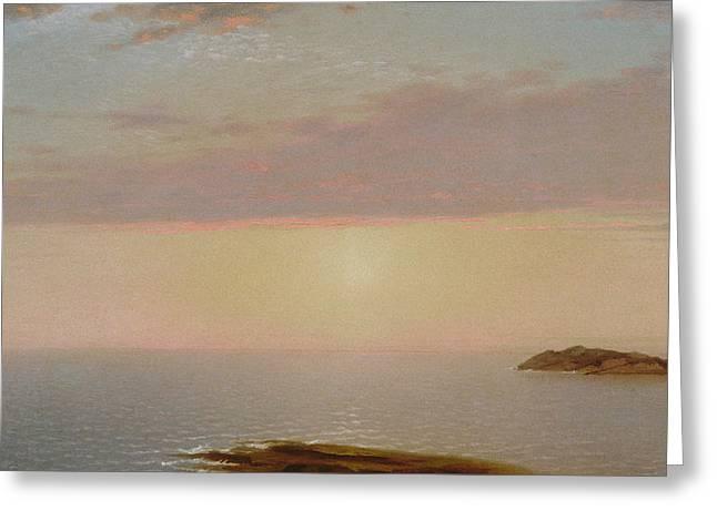 Sunset Greeting Card by John Frederick Kensett