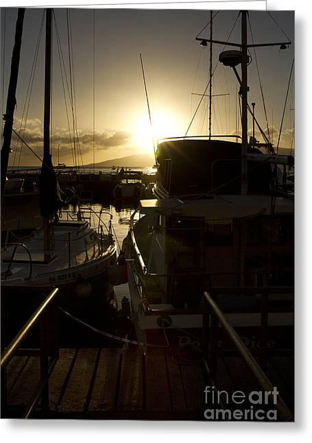 Sunset Lahaina Harbour Maui Marinas Hawaii Greeting Card by Sharon Mau