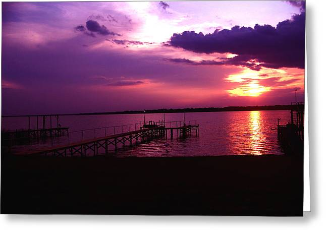 Sunset Lake 2 Greeting Card by Evelyn Patrick
