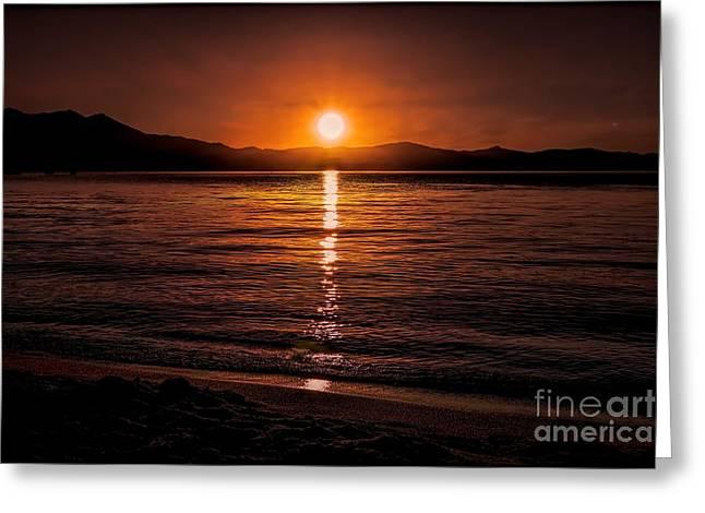 Sunset Lake 810pm Textured Greeting Card