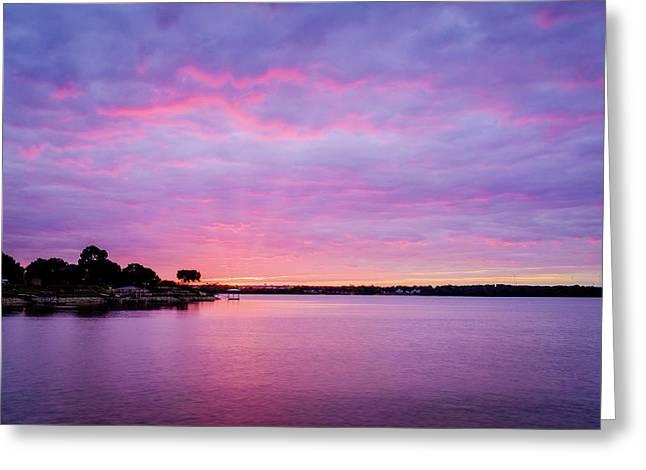 Sunset Lake Arlington Texas Greeting Card