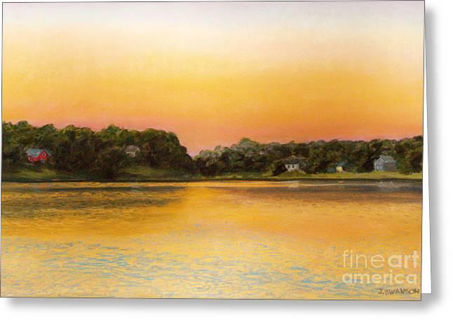 Sunset Lake Greeting Card by Joan Swanson