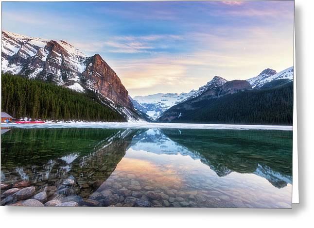 Sunset Lake Louise Greeting Card