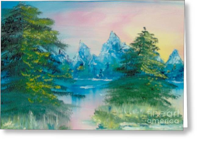 Greeting Card featuring the painting Sunset Lake by Saundra Johnson